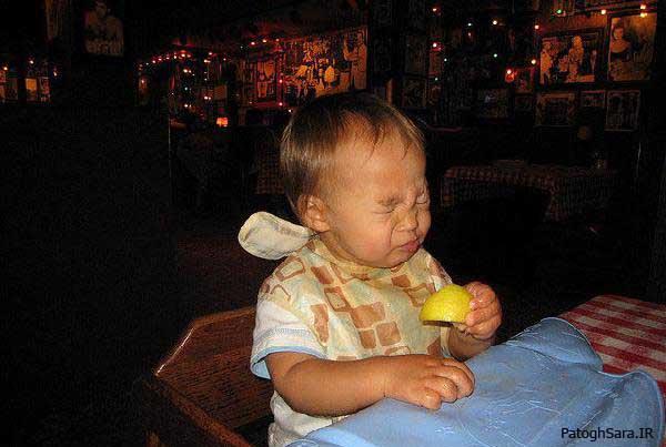 عکس العمل کودکان هنگام خوردن لیمو ترش
